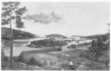 Teie med utsikt mot kanalen og Træla/Husøysundet. Utsnitt av maleri av H. G. Wang ca. 1850.