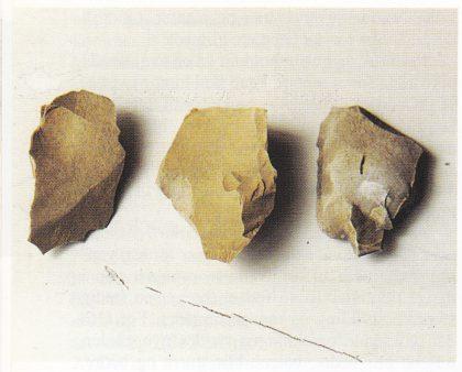 Flint-redskaper funnet i skauveien, cirka 200 meter sør for Øraveien. Mai 200. Foto: T. Paulsen.