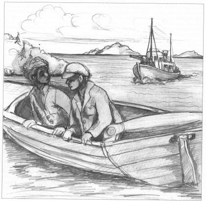 Ove Tollefsen og Einar Gjelstad ble ivrige «fiskere» syd for Søndre Årø da de ble praiet av en tysk oppsynsbåt i april 1945. De kunne ikke la seg ta til fange