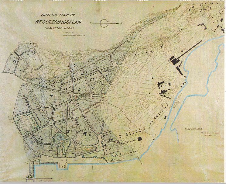 Kommuneingeniør Arthur Røeds reguleringsplan for Nøterø haveby 1921.Tilhører Nøtterøy kommune