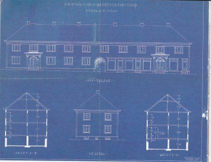 Blåkopi av byggmester O. H. Bekkevars tegning av den første bygningen som ble oppført på Teie torv i 1927. Tilhører Nøtterøy kommune.