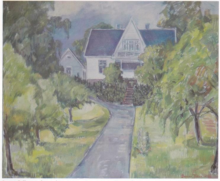 Ingvar Dillans maleri av hjemmet sitt - Bjørstad - i Hellaveien.