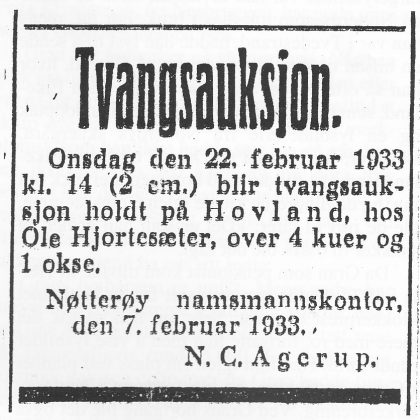 Annonse i Tønsbergs Blad 18. februar 1933.