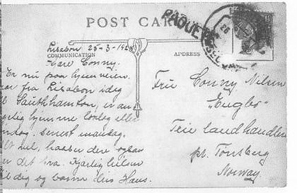 Postkort fra Lisabon 1928. Bemerk adressen. Dengang eksisterte hverken Smidsrødveien eller Teie postkontor. Utlånt av Elfi Nilsen.