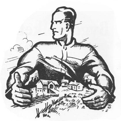Omslagsillustrasjon - Bønder i kamp. Thor Wiborg 1934.