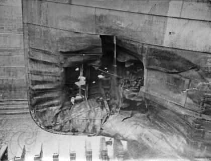 Belridge fra siden der torpedo traff. Kilde: digitaltmuseum.no