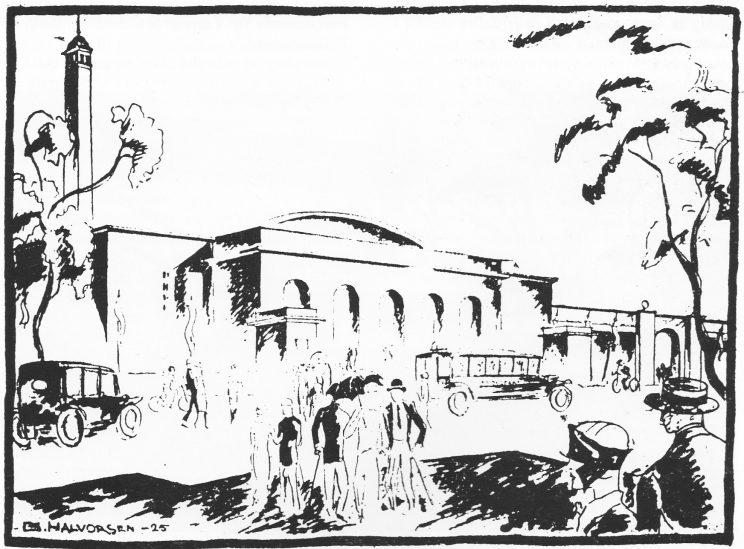 Bryggeportalen på utstillingen. (Tegnet for Tønsbergs Blad av G. Halvorsen, Oslo)