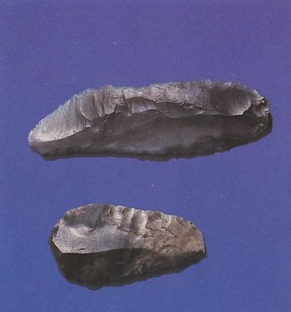 Den første pilspissen (nederst) og den andre gjenstanden artikkelforfatteren fant. Fra nordfeltet (Foto: Grethe Horn)