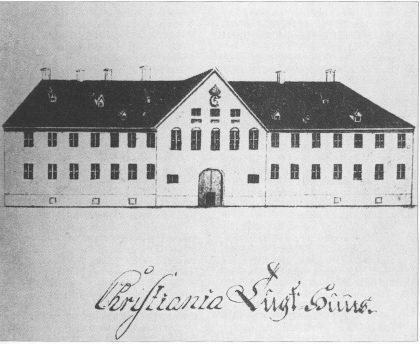 Tegning fra 1775. Navneskiltet er feiltegnet, skal være CVL (Tidsskriftet St. Halvard 1937)