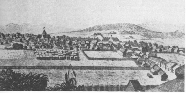 Etter utsnitt av Theophilus Laans stikk av Christiania ca. 1746. Tugthuset er den store, hvite bygning-en som dominerer bildet. Vår Frelsers kirke (Oslo Domkirke) til venstre.