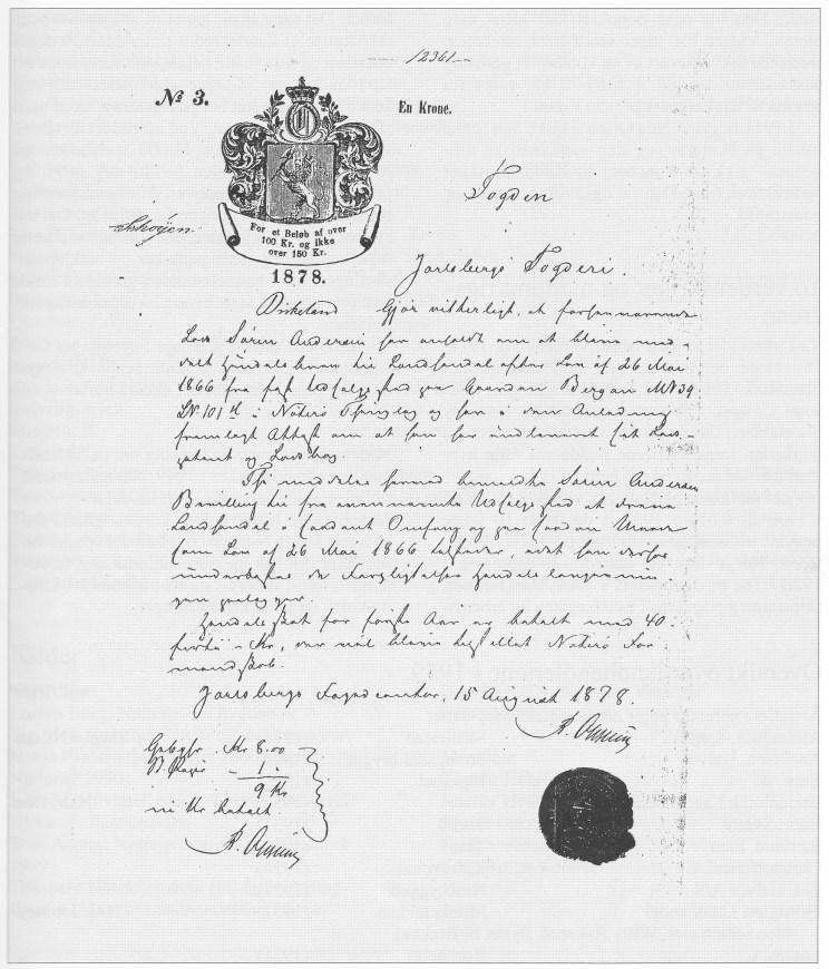 Los Søren Andersens handelsbrev fra 26. mai 1866, utstedt ved Jarlsberg Fogderi.