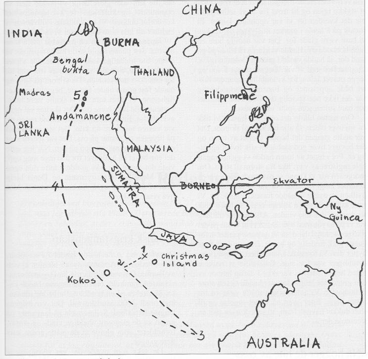 Livbåtens ferd over Det indiske hav. 1) «Woolgar» bombet 7. mars 1942. 2) Storm fra nordvest. 3) Mot Australia - sydost vind mot Sri Lanka. 4) Ekvator passeres vest av Sumatra. 5) I land i Port Blair på Andamanene etter 88 døgn.
