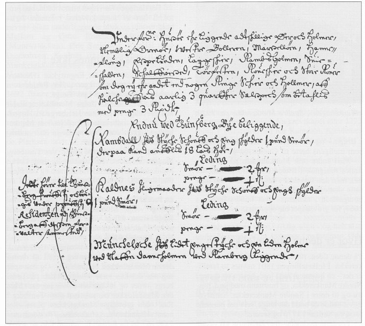 «Muncheløche Et lidet Engestyche och En liden Holme ved Nafn Danneholmen ved Ramberg liggende» står det i denne matrikkelen for Tønsberg len fra 1667.