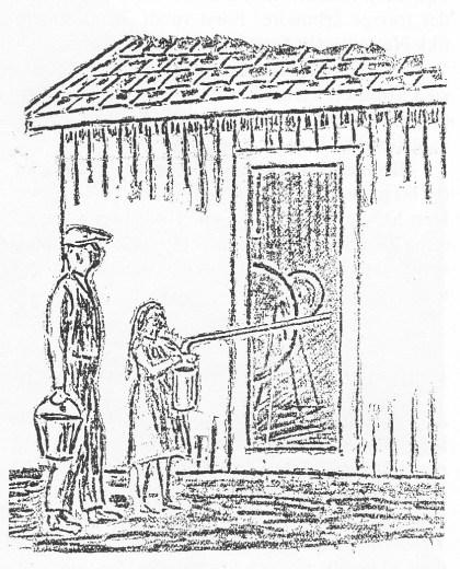Vannhenting fra pumpestasjonen Øverst i Grindstuveien, hvor det var boret en såkalt «artesisk brønn». Tegningen er hentet fra Tønsbergs Blad 1921.