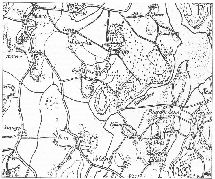 Kommuneingeniør Arthur Røed foreslo i 1920 å bygge en dam over Haubekken (Bruabekken). Utsnitt fra kart 1890.