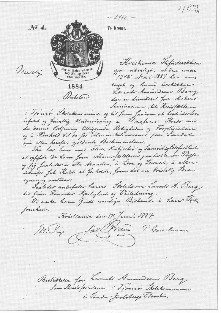 Lorens Bergs ansettelsesbrev som lærer på Tjøme i 1894.