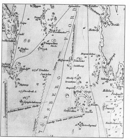 Utsnitt av «Specialkart over Kristianiafjorden» «Wilhelm Tell»s forlis Ved 1867. Farvannet ved Tønsberg Tønne der brig Tønsberg TØnne gen «Wilhelm Tell» forliste på Lyngholmshausen i oktober 1870. (Foto S. H.)