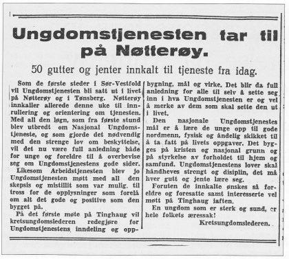Fra Tønsbergs Blad 2. mai 1942.