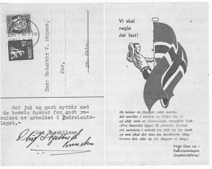 Fedrelandslagts julekort med oppfordring om å melde seg inn i lagets ungdomsfylking.