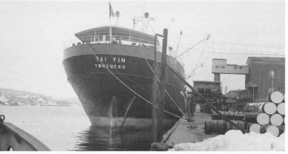 Tai Yin. Alle Wilhelmsens båter var registrert med Tønsberg som hjemmehavn og alle hadde navn som begynte på T. Foto Wilh. Wilhelmsens rederi.