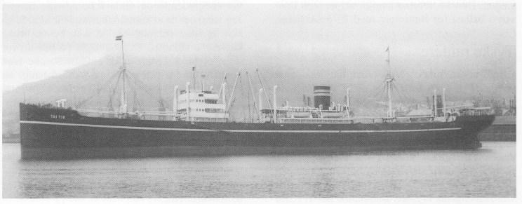 Wilh. Wilhelmsens Tai Yin, 9.357 br. ton. ble bygget av Deutsche Werke A. G. Kiel i 1929 og kostet 3.520. 134,45 kr. Gjorde 15 mil, tok 8 passasjerer og var første skip i Barber Wilhelmsen Line. Ble i 1961 solgt til Japan for hugging. Foto Wilh. Wilhelmsens rederi.