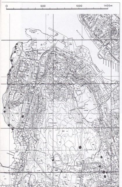 Steinbrudd i Teie-Ramdalområdet. (Statens Kartverk.)