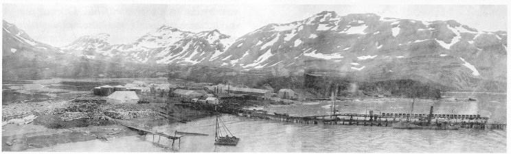 Husvik Harbour. Bildet er satt sammen av tre fotografier som Søren Berntsen må ha tatt fra mastetoppen på ei seilskute, rimeligvis Teie. (Foto utlånt av Karl Jan Skontorp.)
