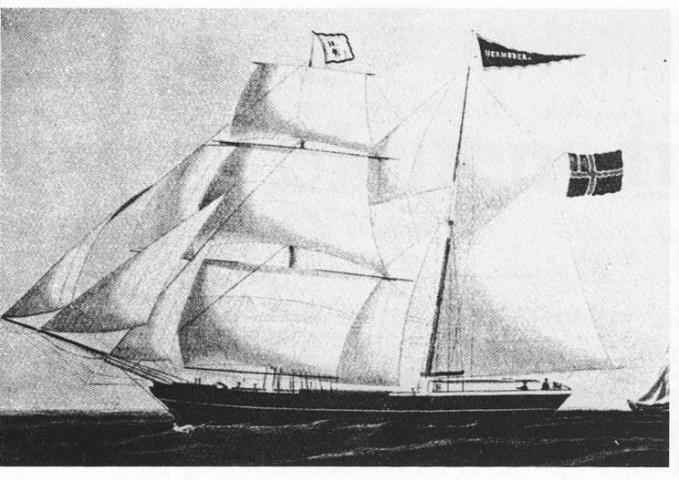 """Skonner Hermoder (43 kl.) var bygd i Grimstad i 1833 og ble innkjøpt i 1868 til rederi """"N. G. Søberg m.fl. paa Veierland"""". Siden ble skonnerten registrert med Veierland som hjemsted og eiere skipper Nils Gorgus Søberg i Tønsberg og Amund Schrøder Paulsen på Vestgården, Veierland. Fra 1876 målte den 86.64 reg.tonn. A. S. Paulsen førte den. Den ble påseilt og sank i Leithsfjord 3.5. 1882. — Hans Thorsen på Tangen (tidl. Krika) hadde en mindre skonnert Hermoder 1844-48. (Bilde i Lorens Berg, Stokke, s. 65.)"""