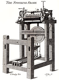 The Stocking Frame (from Charles Deering's History of Nottingham, 1750).