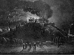Nottingham Castle on fire, 10 October 1831.