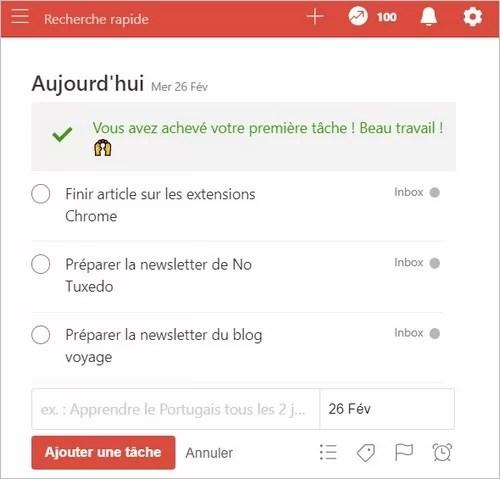 La extensión Todoist en Chrome