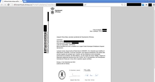 Imagen del certificado de residencia que muestra los datos privados de un vecino de Vila.