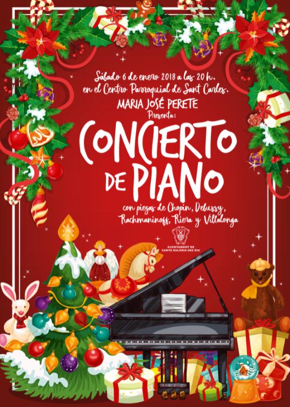 El cartel del concierto de piano del día de Reyes a cargo de María José Perete.