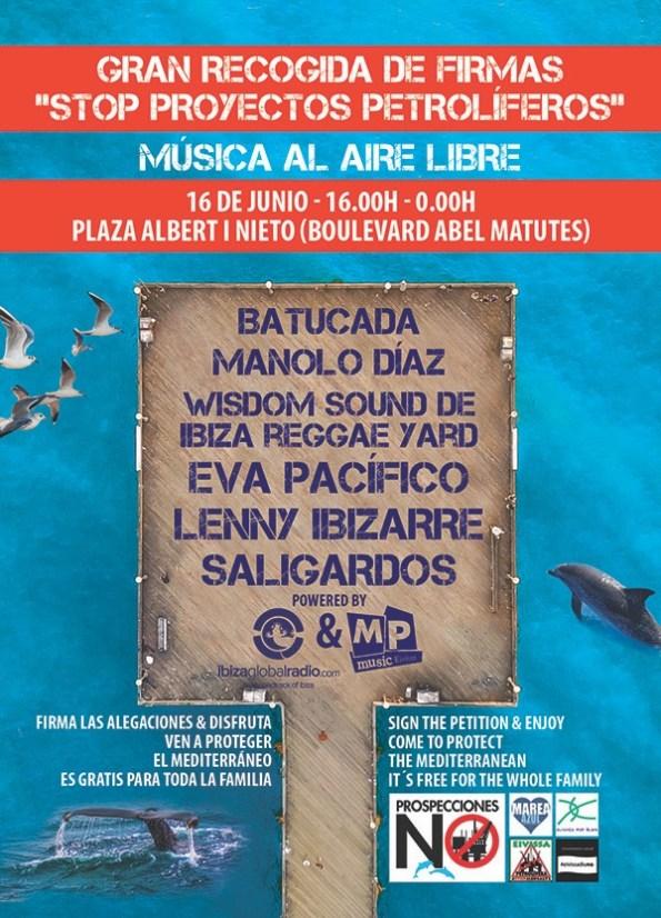 cartel de recogida de alegaciones con música Mar Blava