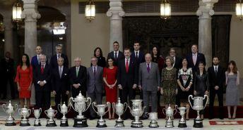 Los galardonados, en El Pardo. Foto LaLiga4Sports