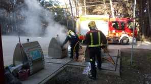 Incendio en unos contenedores soterrados de el Pilar (Formentera).