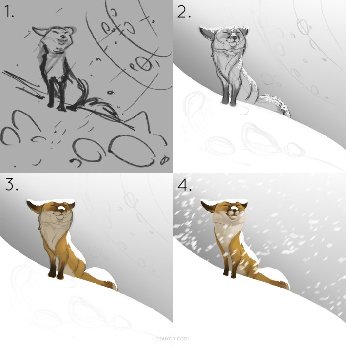 Fox steps in Photoshop