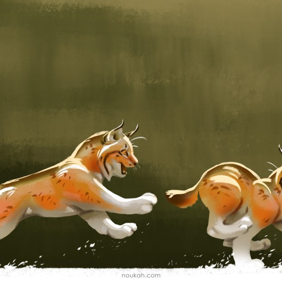 100 cats lynx painting photoshop
