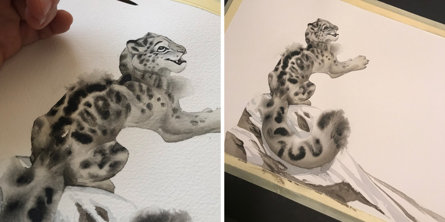 snow leopard watercolors noukah