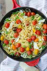 This lightning fast weeknight meal relies on an emulsified sauce to deliver luscious flavor with simple, fresh ingredients - spaghetti, cherry tomatoes, and garlic.