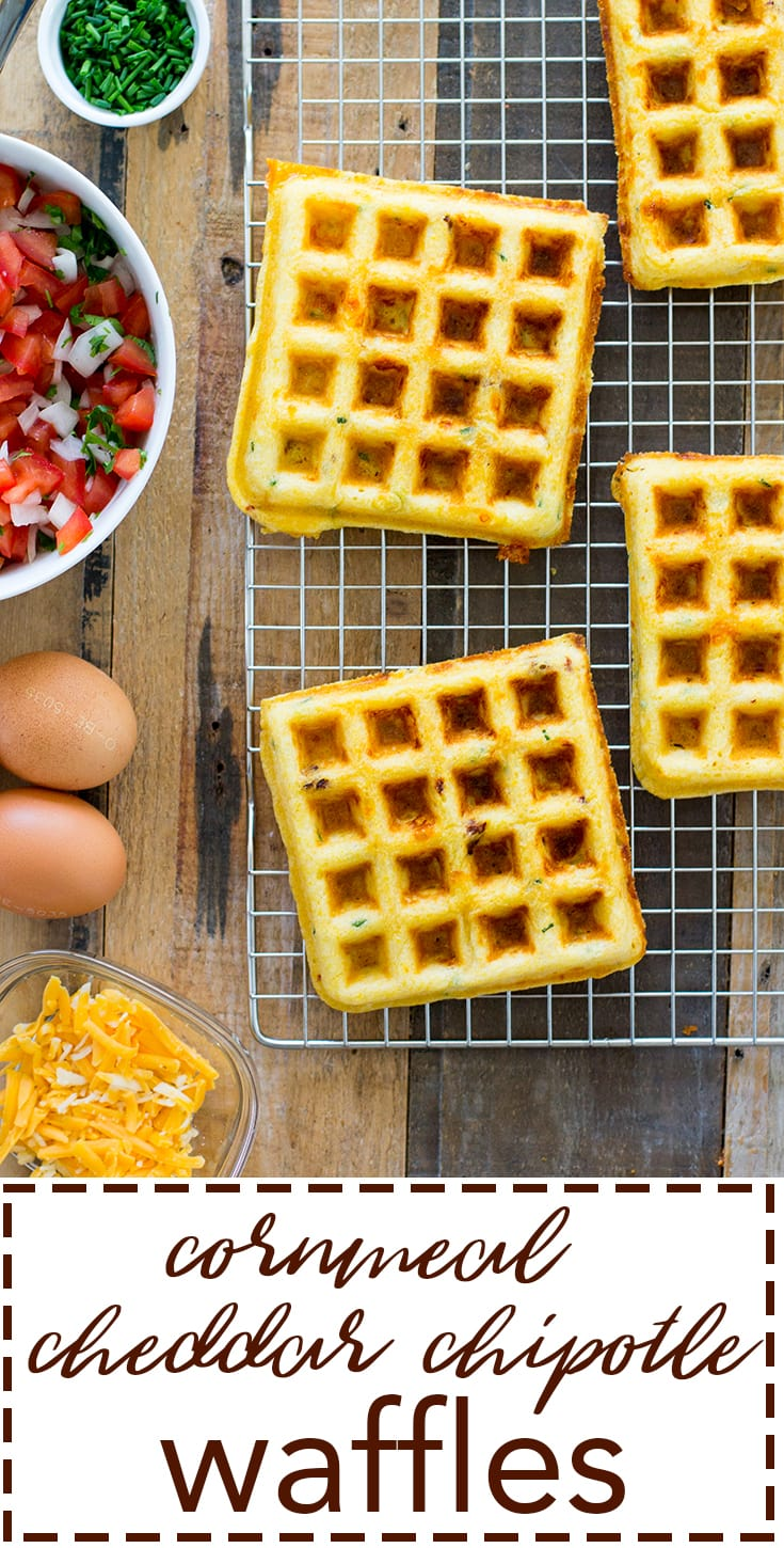 Cornmeal cheddar chipotle waffles. Serve with salsa and a fried egg for the ultimate breakfast for dinner!