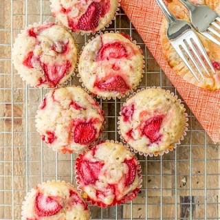 Moist, luscious strawberry banana muffins. Mixed by hand in one bowl! www.nourish-and-fete.com