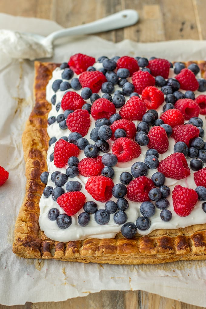 Mixed berry puff pastry tart with mascarpone - a perfect summer dessert, great for Fourth of July!