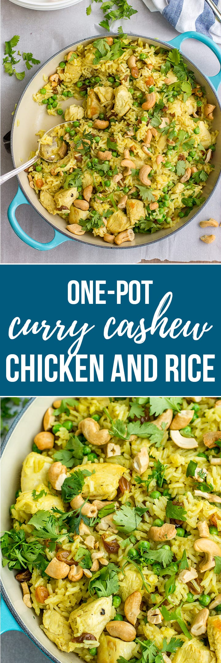 A 30-minute, one-pot wonder, with mild curry, crunchy cashews, rice, cilantros, ginger, peas, and tender pieces of chicken. Perfect for your busiest weeknight dinners! #cashewchicken #weeknightdinner