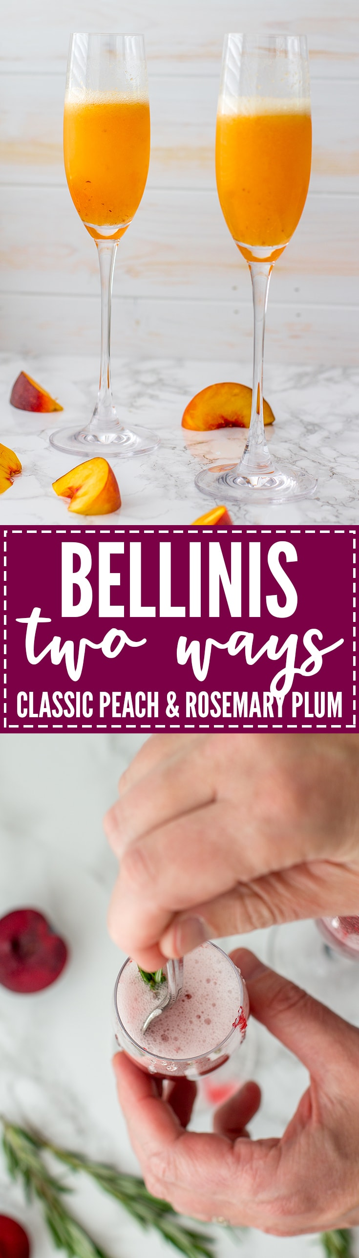 Learn to make a Bellini - the essential sparkling cocktail with sweet Prosecco - two ways. Classic peach, or vibrant rosemary plum!