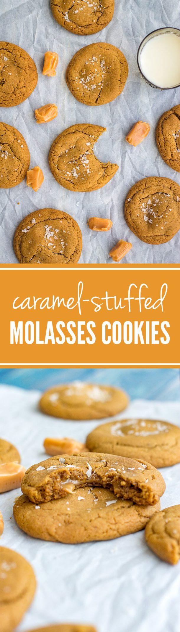 Caramel-stuffed molasses cookies | Soft brown sugar molasses cookies loaded with chewy caramel. Irresistible! #fallbaking #molassescookies