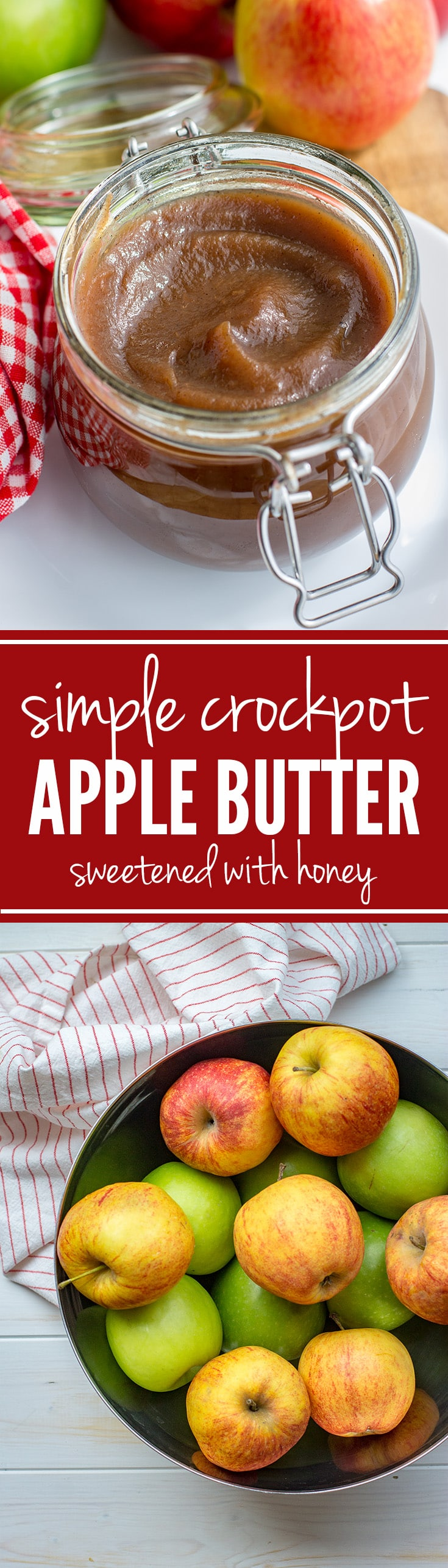 Crockpot apple butter sweetened with honey   Fall baking starts with this amazing homemade apple butter, made in the slow cooker, sweetened with honey. #applebutter #fallbaking #crockpot