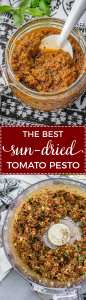 Homemade sun-dried tomato pesto   Quick and easy pesto recipe with tomatoes, basil, pine nuts, and parmesan. Just a spoonful adds instant flavor to sauces, soups, pizza, pasta, and more! #pesto #fromscratch