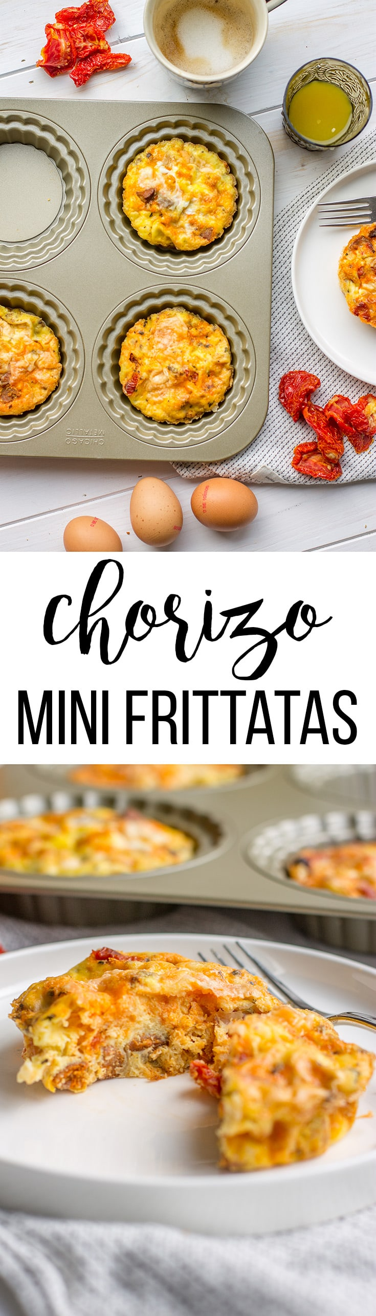 Chorizo sun-dried tomato mini frittatas | Quick and easy make-ahead breakfast, or add a little salad for a fast dinner! #minifrittata #onthegobreakfast