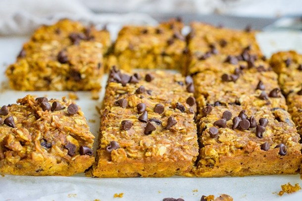 Pumpkin Peanut Butter Oat Breakfast Bars - Nourish and Fete